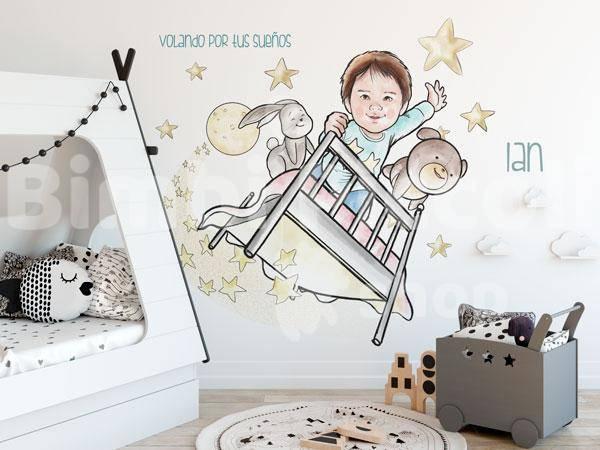 Mural infantil personalizable Bimbi Piccoli Shop cama voladora